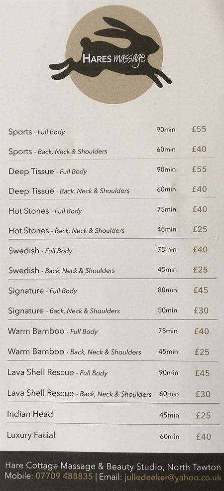 Hares Massage Price List