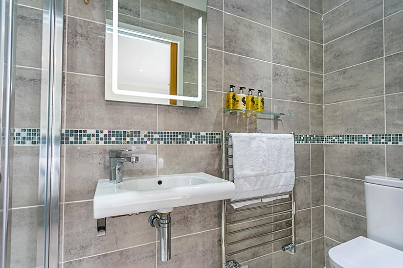 An en-suite bathroom with toilet, shower and sink in mid Devon holiday let